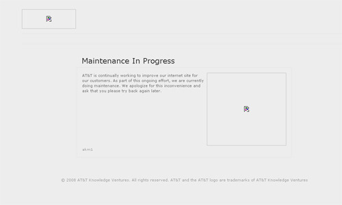 In the midst of iPhone 4 pre-order madness, AT&T's website blows up: — Maintenance In Progress AT&T is continually working to improve our internet site for our customers. As part of this ongoing effort, we are currently doing maintenance. We apologize for this inconvenience and ask that you please try back again later.
