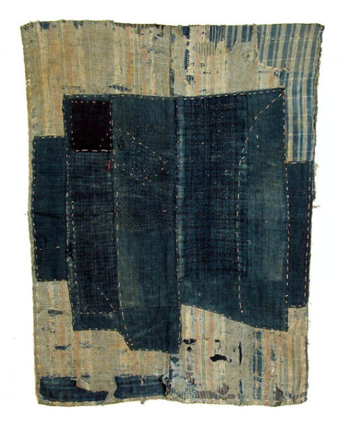 chestchest: Japanese textiles: boro, futon cover, early 20th century.  Indigo dye, sashiko stitch. Courtesy of Cavin-Morris Gallery