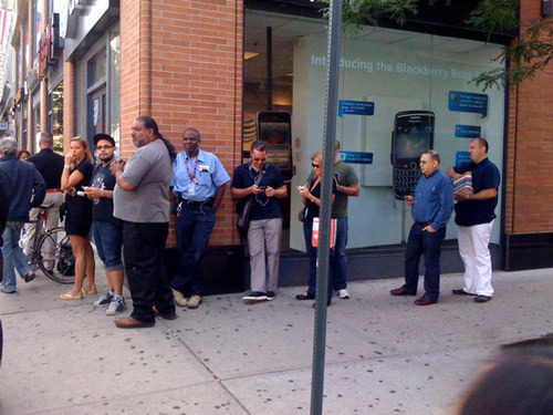 That would be a line outside an ATT store this morning receiving iPhone4 PRE orders. If NGOs and social business brands could get people excited about ANYTHING as much as we love our iPhones the world would be a different place. (photo taken from gizmodo)
