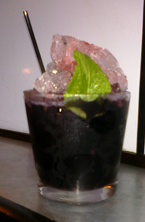 Sweet Liberty Slam at Henry Public. Bourbon, blackberries, mint, and Peychaud bitters.