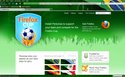 You can now customize your Firefox browser with your favorite FIFA team!