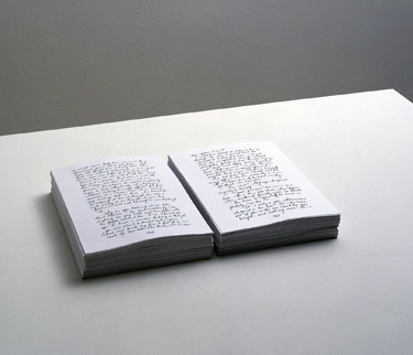 defacedbook:    Kris Martin The Idiot, 2009 (Artist's Book) In this   artist's book, Belgian artist   Kris Martin has written out the entirety of Fyodor Dostoyevsky's The Idiot, substituting his own name for that of the book's hero, Myshkin, in an extreme act of adulation and identification with Myshkin's desire for spiritual transformation.  (Paperback,1496   pages, text in English)