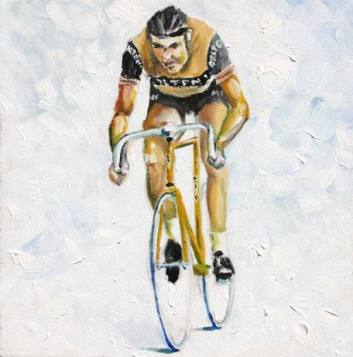 """Merckx - The Hour""  by Scott from VeloCast oil on canvas  Found on La Gazzetta Della Bici."
