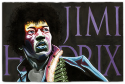 pezzz:  Commission Piece for Zachary Spradlin - Jimi Hendrix in Acrylic Ink on 14 x 20 in. Rives BFK