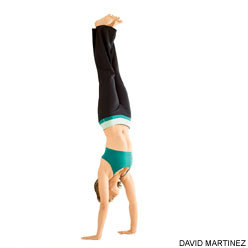 "Yoga Journal - Handstand (Adho Mukha Vrkasana) Today in yoga class I kicked up into handstand at the wall twice without anyone nearby to spot me. I've long had the strength for this, and a modicum of balance, so the remainder was all inside my head, specifically fear. The first time I did it, I giggled like a child. For indeed, the theme of the class was ""play"" (lila in Sanskrit). Something about this theme unlocks my handstand. It is an exhilarating feeling and one that gives a different, opposite perspective. I have been working on this one a while, and so won't soon forget this. Share my joy!"