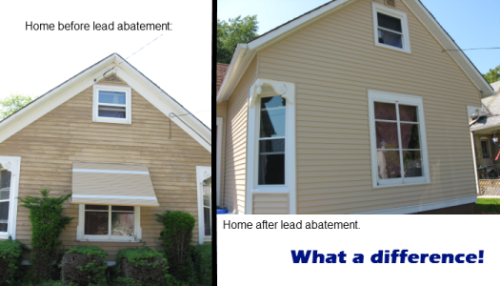 An example of the before and after of our program.  The siding on this house was painted with lead-based paint.  Not only are our modifications safer… they look nice, too!