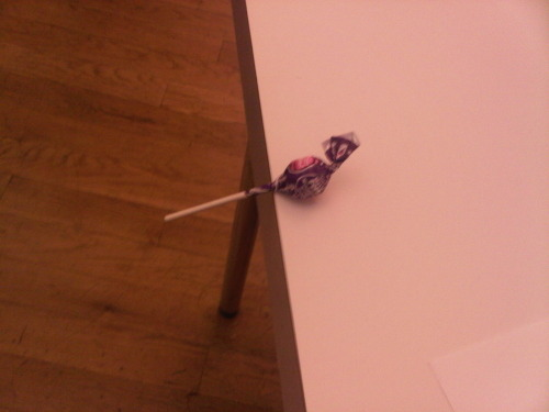 Ritz flung a lollipop at me and this is how it landed.