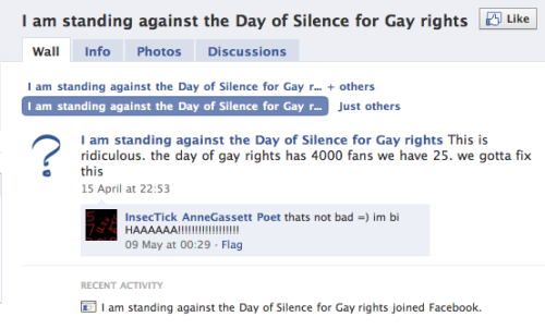 stfuhomophobes:  Owned  Ha. But for those who are ignorant, the Day of Silence has nothing to do with gay rights. Being against is being pro-harassment. Pro-bullying. Pro-unsafe schools for everyone.