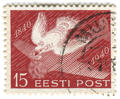 goodmailday:  Estonia postage stamp: carrier pigeon (by karen horton)