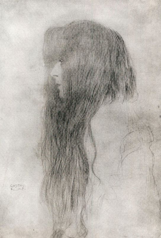 springgreens: sealmaiden: Gustav Klimt Woman in Profile 1898-99