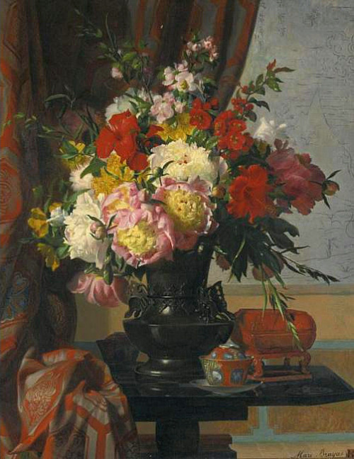 Marc-Laurent Bruyas Still Life with Peonies 19th century