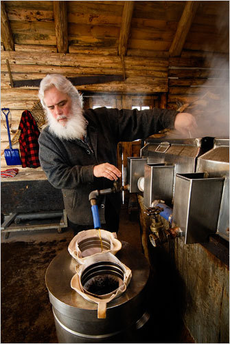 Pierre Faucher, the owner of Sucrerie de la Montagne, filters syrup after it's boiled to perfection. It takes roughly 40 gallons of sap to make one gallon of syrup, and when the process is as artisanal as this, it takes all day. (see the nytimes slideshow)