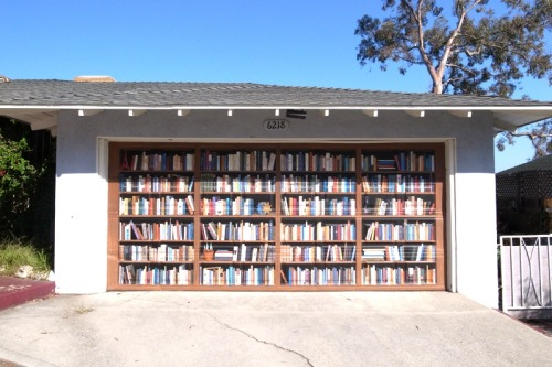 Bookshelf mural painted on someone's garage in the Hollywood Hills.