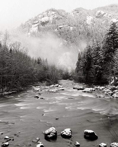 Olympic NP Elwha snow BW (by Intrepid Tripod) Olympic National Park, Washington.
