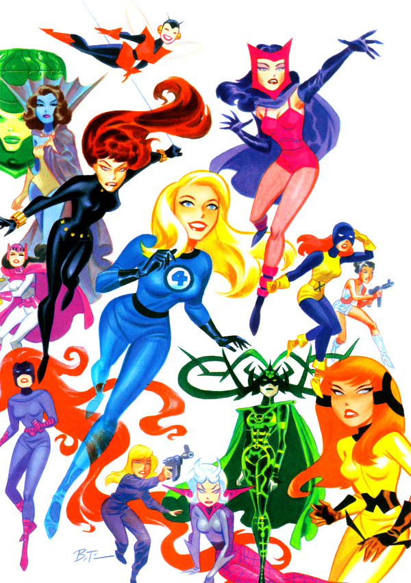 costumedcrusader:  Bruce Timm Marvel women.  this is so cool. if they ever do a marvel cartoon they need to hire him.