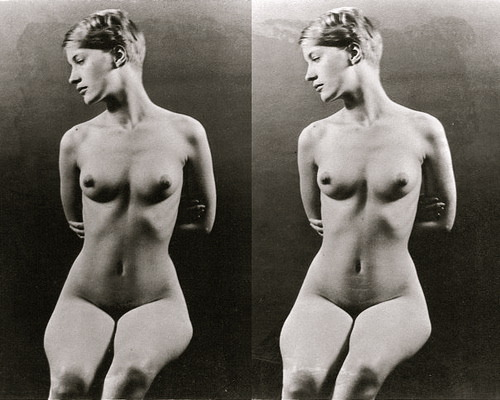 foxesinbreeches: (thank you)  Nude study (stereoscopic photograph) of Lee Miller by her father, Theodore Miller, 1 July 1928, Kingwood Park, Poughkeepsie, New York Via mythologie des lucioles