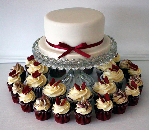 Red Velvet Cake with Butterfly Cupcakes