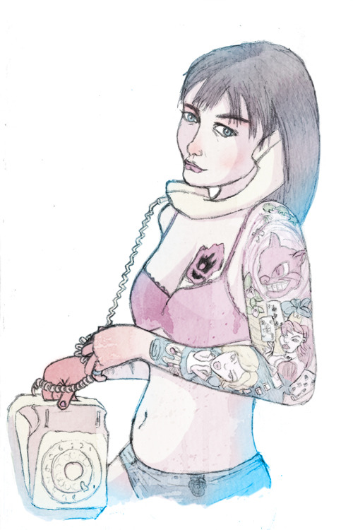 Call Girl Coloured.  Based off Call Girl by Jo O'Brien. Check out the process here.