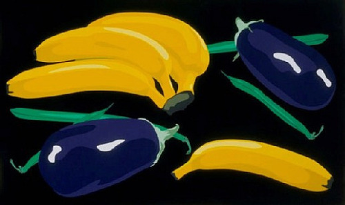 Julian Opie Still Life with Bananas, Aubergines and Green Beans 2001