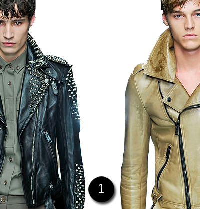 what a surprise, burberry s/s '11 was all about the outerwear. no big deal, i know some people are over the whole motorcycle jacket thing but i wear mine in the fall, in the winter and in the spring. sometimes i turn the ac on in my apartment so i can wear it during the summer too. kidding. maybe. anyway, i can't say i'm down with all the leather pants on the runway and i have a thing against short sleeve sweaters but i would definitely consider adding one of these moto jackets to the wardrobe. 1: burberry s/s '11 jackets