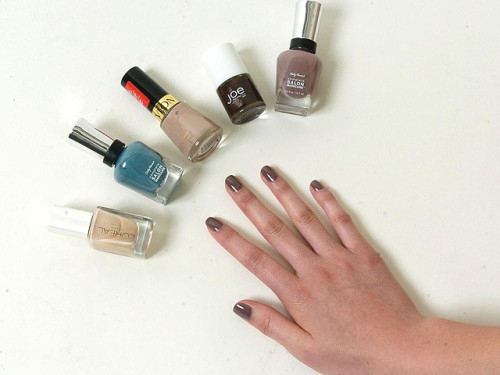 "Sally Hansen ""Commander In Chic"".  Also pictured L-R: Honeysuckle, Gray By Gray (yep, totally blue), Grey Suede, Espresso."