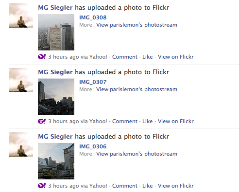 Dear Facebook and Flickr, it's great that you have some new functionality to link your services. Here's a tip. People often bulk upload photos, so you don't need a separate entry on Facebook for each one. In fact, if it's a bulk upload, just do one entry that can be expanded. You know, the stuff FriendFeed (which you bought, Facebook) was doing two years ago.
