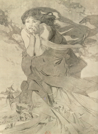 my-ear-trumpet:  charlottecorday:  thefindesiecle:  Alfonse Mucha, The Twelve Months: November. 1899. For magazine Cocorico. Pencil and wash, white gouache highlights. 40 x 32 cm. Source: Mucha: The Triumph of Art Nouveau. (via: f*yeahalphonsemucha:skycaptainbyrd:)