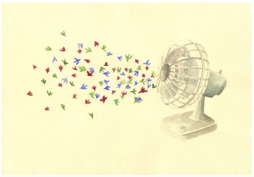 Illustration mockup for Lotte Geeven's Bird Confetti project.