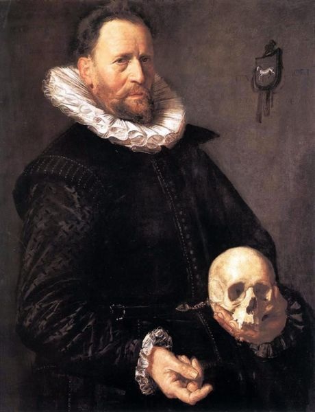 darksilenceinsuburbia:Portrait of a Man Holding a Skull, c.1611 by Frans Hals Via