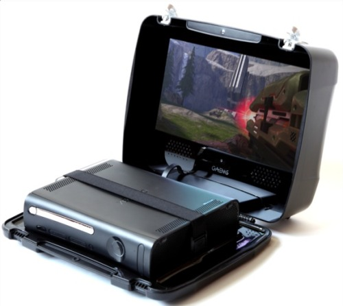 GAEMS Suitcase Turns Any Xbox 360 Portable  Travel much?  Love to game?  Then you need, yes need the Gaems  Portable Console Gaming and Entertainment system.  It's a protective  suitcase that securely holds your gaming console.  Pictured here is an  Xbox 360 Elite, but they've got plans for a PS3 version as well as an  updated model that will hold the new Xbox 360 Slim. Hidden in the lid is a 15-inch 720p LCD and a whole mess of  speakers.  Surrounding the console is layer of dense polyurethane to  protect against minor bumps and dings. You can even lock it to prevent  unwanted play or possible theft (of the console).  http://www.projectgaems.com/ [GadgetReview]