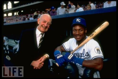 Ewing Kaufman and Bo Jackson of the Kansas City Royals