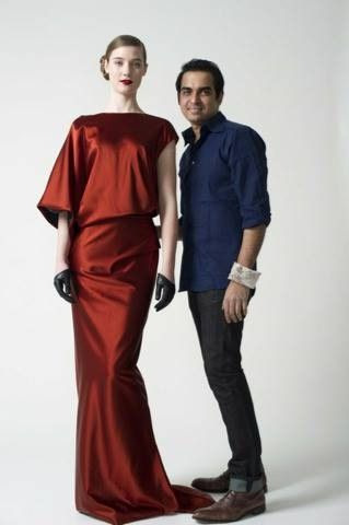 Red silk gown by Bibhu Mohapatra Fall 2010  On model  Sophie Becker With new CFDA member, Mohapatra