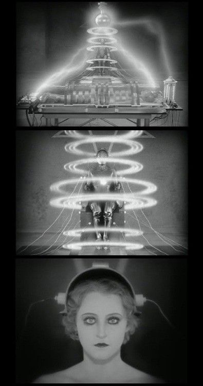 "Brigitte Helm in Metropolis (1927, dir. Fritz  Lang) On the creation of Robot Maria: ""The  concentric rings of light that surround her and move from top to bottom  were in fact a little ball of silver rapidly swung in a circle and  filmed on a background of black velvet. We superimposed those shots, in  the lab, over the shot of the robot in a sitting position that we had  filmed previously."" -Fritz Lang"