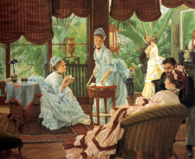 In the Conservatory by James Jacques Joseph Tissot, 1875-1878 His paintings are great depictions of Victorian fashion and lifestyle (not to mention I really love them) so I will certainly post more.