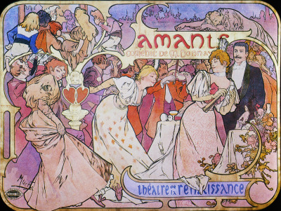 A3 Amants, 1895  One of the few Mucha illustrations with men!