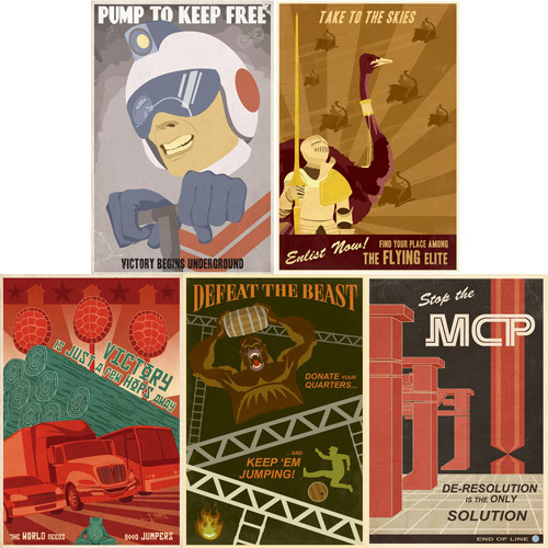 "Retro Videogame Propaganda Posters available at ThinkGeek This set of five 15"" x 22"" poster by Steven Thomas each depicts one classic video game from the coin-op era."