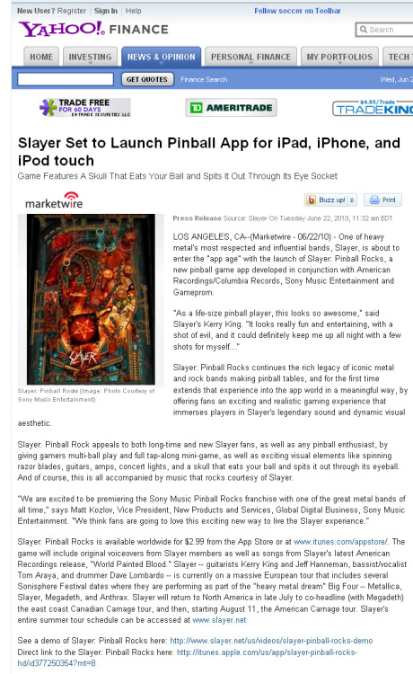 Yahoo! Finance discusses the new Slayer pinball app.