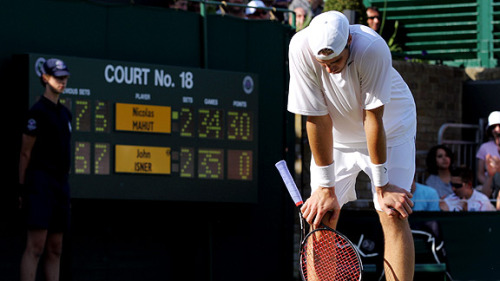 John Isner and Nicolas Mahul have played for 10 hours, 3 on Tuesday and 7 today at Wimbledon, and remain tied at 59-59 in their final set.  They will continue to play tomorrow, to see how much further they can outpace the previous record of 6 hours, 33 minutes.    And the winner will have the honor of moving on to… the Second Round. (Photo via ESPN)