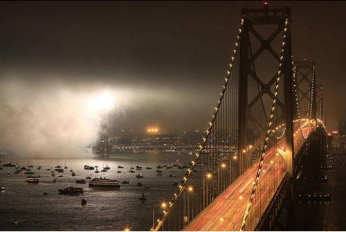 Why is it so cold? Take some NyQuil San Francisco. Pretend you're the south bay. I want sunshine and non-parka weather. (via downey-, desmondpenny, stutchywinchester,  notsopictureperfect,  45 Astonishing Examples of Long Exposure Photography)