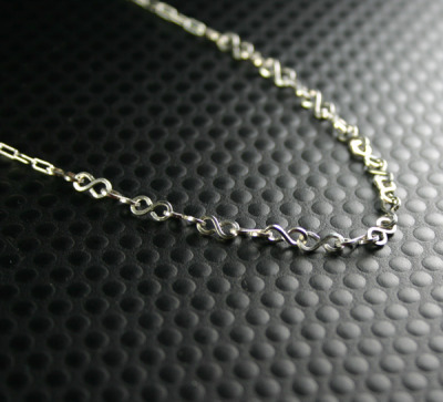 New Design - minimalist necklace - Handcrafted infinity chain made of square wire attached to fine drawn cable chain (machine made) - all in tarnish resistant argentium sterling silver