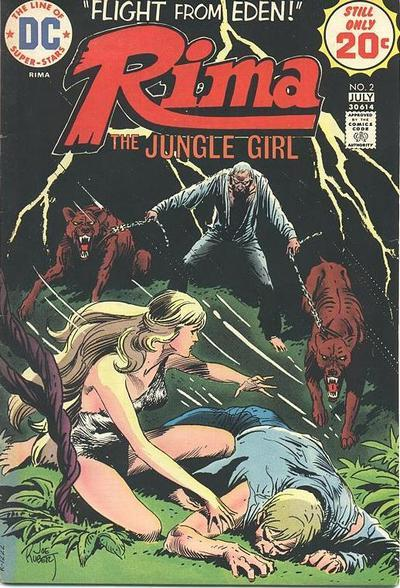 Rima the jungle girl, art by Joe Kubert, 1975 Rima, the character of the novel Green Mansions : a romance of the tropical forest (1904), was adapted in a comic book character and featured in a short-lived monthly series.  This character is very different of Audrey Hepburn as Rima in the movie Green Mansion.  In the novel, Rima  was 4.5 feet (1.37 m) tall, 17 years of age, demure and dark-haired.