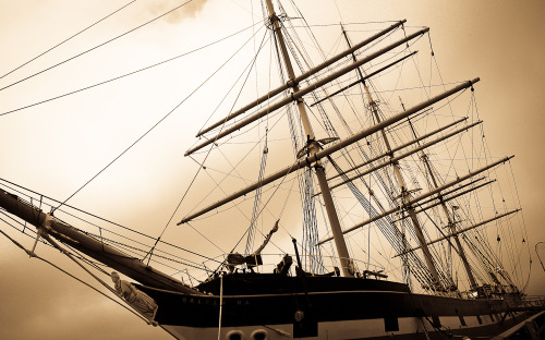 """A ship in port is safe but that's not what ships are built for"" Balclutha( Star of Alaska), the ship with 25 sails, built in 1886 carried cargo all over the world.  Photo - Maitreyi Roy, Fisherman's Wharf, San Francisco, June '10"