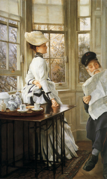 Reading the News by James Jacques Joseph Tissot, 1874
