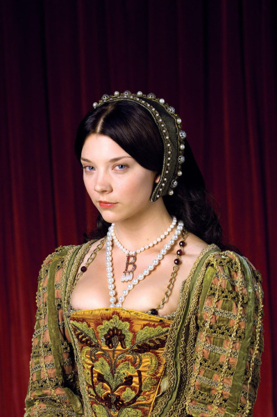 This promotional picture portrays Anne Boleyn, the character from The Tudors, posing as Anne Boleyn, the real person, in her most famous portrait. The historical era should be around the year of 1525. (click to see it and make the comparison)  Late-16th-century copy of a lost original of c. 1533-1536.