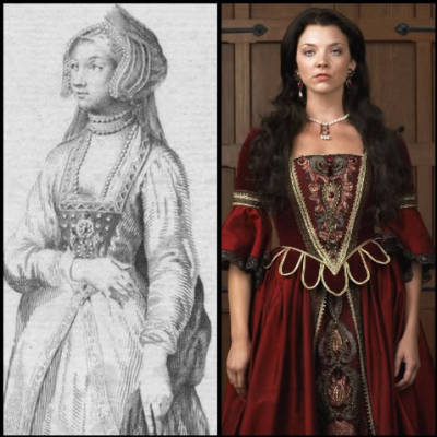 An  engraving of Anne Boleyn - Natalie Dormer as Anne in The Tudors