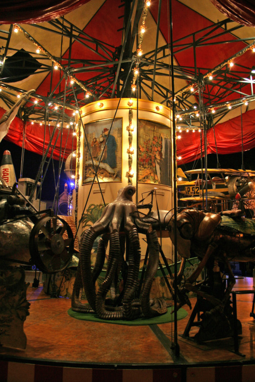 December 2009 - Brussels Christmas market. A working carousel made by artists.