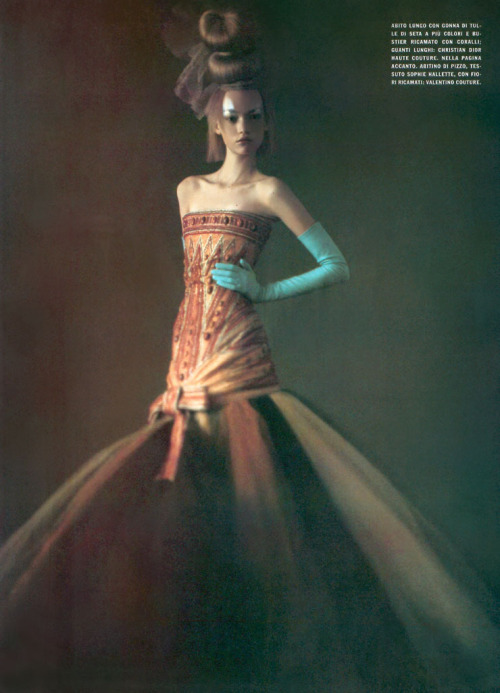 Magazine: Vogue Italia March 2004Photographer: Paolo RoversiModel: Gemma Ward (via picturethispicturebliss) Christian Dior Spring 2004 Haute Couture