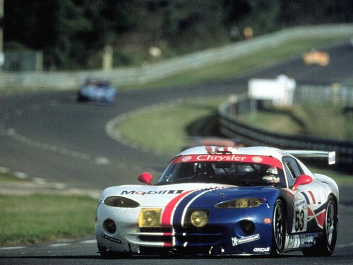 theautoinsider:  1998 Team Oreca Chrysler Viper GTS-R Vitals:  Debuted at the 1995 Pebble Beach Concours Developed by Chrysler  of North America, Oreca of France, and Reynard Motorsport of the United  Kingdom. 57 total built. 17 total series championships won.  Overall wins: 24 Hours Nürburgring - 1999, 2001, 2002Rolex 24 at Daytona -  2000 Class wins:24 Hours of Le Mans - 1998, 1999, 200012 Hours of Sebring - 2000Petit Le Mans - 19991000km Fuji - 2001Mil Milhas  Brasileiras - 2004 Series championships:   FIA GT Championship - 1997, 1998, 1999, 2001, 2002American Le Mans Series - 1999, 2000FFSA GT Championship - 2001, 2003,  2004, 2005Belgian GT - 2002, 2003, 2004, 2009Italian GT - 2003, 2004  Titled the Chrysler Viper GTS-R for competition in Europe due to the absence of Dodge-branded vehicle sales, while it maintained the Dodge branding for North American competition. Interesting tidbit: During the 2000 Rolex 24 at Daytona, it was designated the GTS-R/T as a cross-promotion for Dodge R/T-branded vehicles.