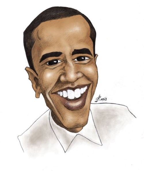 Barack Obama caricature, drawn during the election.