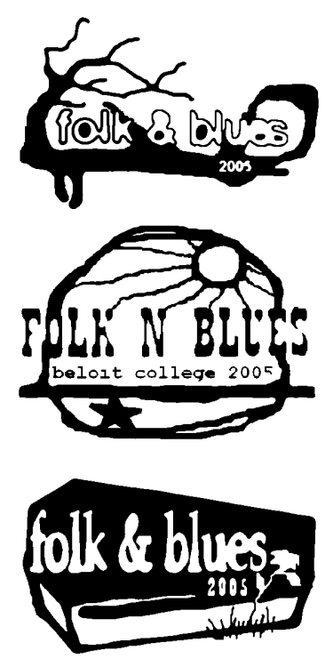 Versions of the logo I did for Beloit College's annual Folk & Blues festival 2005. The top version was used. I still prefer the coffin design, but hey… When they put the design on the t-shirts, they printed white text on black shirts.